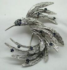 Beautifully Stylish 18 Carat White Gold And Sapphire Bird Of Paradise Brooch