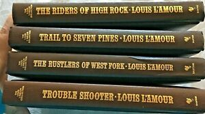 Louis Lamour Leatherette HC Complete HOPALONG CASSIDY Saga LOT of 4 All 1st