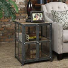 Viking Silver Finish Metal And Glass End Table Display Case Industrial Furniture