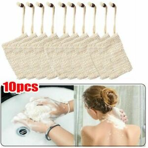 10 Packs Faux Sisal Soap Bag Exfoliating Soap Saver Pouch Holder Coffee NEW