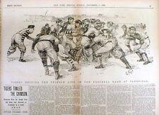 <1896 newspaper w Poster display PRINCETON defeats HARVARD College FOOTBALL GAME