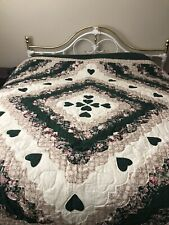 Handmade Amish Quilt King Size green Measures Approx 108 x 108