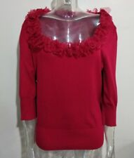 Per una Womens Red Jumper with Shiny Floral Embellished UK Size 18