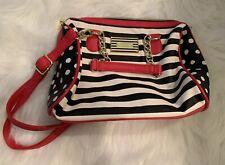Betsy Johnson Purse Handbag Faux Leather detachable Strap Pink Black White Color