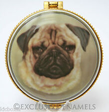 Alastor Enamels Pug Dog Round Hinged China Trinket Box