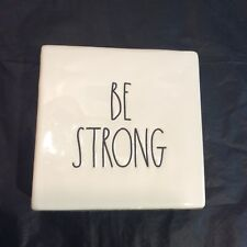 """Rae Dunn Magenta Be Strong Ceramic Paperweight Desk Office Decor 4""""x4""""x1.5"""""""