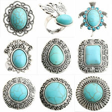 Beauty Fashion Tibetan Silver Carved Turquoise Gemstone Adjustable Ring Jewelry