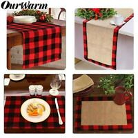 Buffalo Plaid Table Runner Placemats Cotton Table Mat Christmas Party Home Decor
