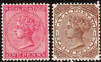 South Africa Natal 1882 carmine 1d brown 4d crown CA mint SG99a/102