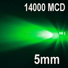 100 LED DIODI 5mm VERDE LUMINOSITA 14000 MCD VERDI
