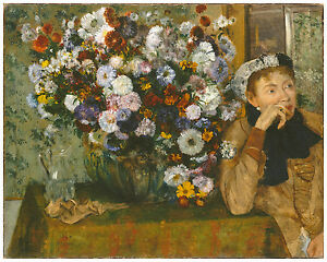 """Impressionism """"A Woman Seated beside a Vase of Flowers"""" Edgar Degas ca. 1865"""