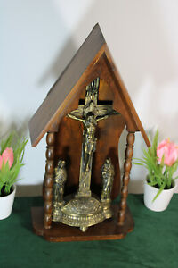 Antique french wood carved chapel crucifix religious