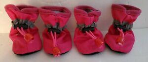 Pet Dog Waterproof Pink Booties Medium Anti-Slip Rain Toggle Closure Boots NEW