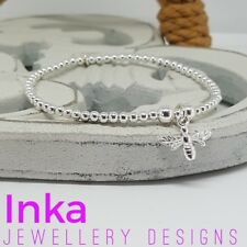 Inka 925 Sterling Silver stretch beaded Stacking Bracelet with a Bee charm