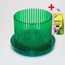 Orchideentopf Orchitop M Set + Untersetzer + Seramis-Substrat, Farbe:grün