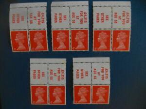 Stamps : Great Britain 3rd March 1969 4d.vermilion booklet pane X 5. SG733l.