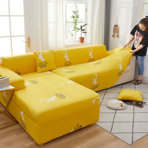 Elastic Slipcover L Shaped Loveseat Sleeper Sofa Cover Fitted 3 4 Seater Novelty