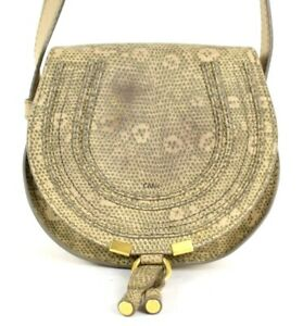 CHLOE Beige Lizard Embossed Leather Mini MARCIE Crossbody Shoulder Bag