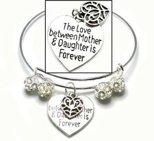 Mother's Day 925 Sterling Silver Bracelet Crystal Beads With Heart +GiftPkg