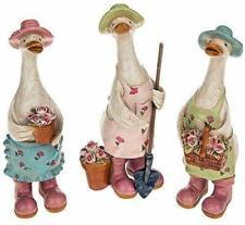More details for set of 3 gardening duck ornaments davids ducks range homeware figures 276845