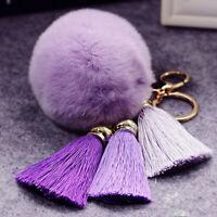 Furry Fuzzy Pendant Pompom Ball Tassel Keychain Bag Car Key Ring Chain Decor