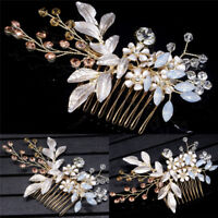 Gold Crystal Flower Jewelry Festival Gift Bride Pin Wedding Hair Clip Hairpi.yu