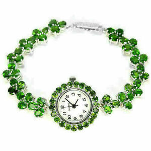 Watch Green Chrome Diopside Natural Genuine Gems Sterling Silver 7 1/4 Inch