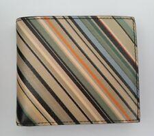 Paul Smith Men Wallet Coins Leather Signature Multi Stripes