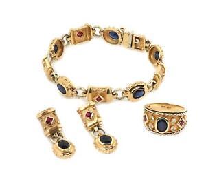 9.08ct Diamond Sapphire Ruby 14k Gold Earrings Bracelet & Ring Set LIQUIDATION