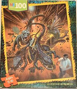 1998 Genuine GODZILLA 100 pc Puzzle MB Milton Bradley 4883-2 Made In USA!!