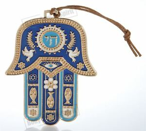 Hamsa hand Blue Wall Hanging decor Lucky Charm CHAI Judaica Kabbalah evil eye