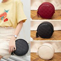 Women Fashion Mini Round Bag Solid Shoulder Small Tassel Crossbody Bag Purse