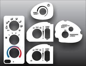 1998-2002 Dodge Ram Mirror Defrost White Heater Control Switch Overlay HVAC