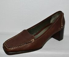 AEROSOLES MASTER CREASE SZ 7 B BROWN LEATHER STITCHED LOAFER PUMPS HEELS SHOES