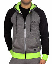 NWT $120.00 Performance Hoodie from V 19.69 ITALIA Grey/Black/Yellow Men's LARGE