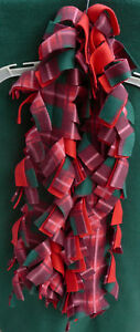 Plaid red, green, burgundy,white fleece scarf fringed handmade NEW
