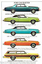 1974 Ford BIG CARS Brochure: LTD,GALAXIE,CUSTOM 500,Country Squire Station Wagon