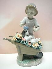 LET'S GO FOR A RIDE - GIRL WITH DOG IN WHEELBARROW FLOWERS 2014 BY LLADRO #9133