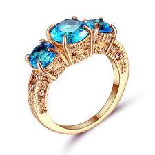 Aquamarine Topaz Gem 3 Stone Engagement Ring Gold Rhodium Plated Jewelry Size 9