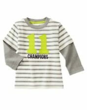 Gymboree Star Brights Grey Striped Champions Tee Shirt Top Boys 4T NEW NWT