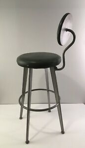 Vintage Amisco '98 Round Back Green Gray Metal Retro Made in Canada Stool Chair