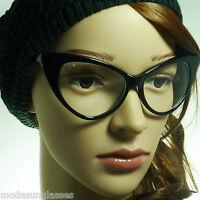 c8a8be4590 60s Cat Eye Oversized Vintage Retro Women Fashon Frame Clear Lens Eye  Glasses