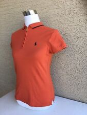 Lady Polo Golf Short Sleeve Shirt by Ralph Lauren Size Small Orange 1/3 Zip B8