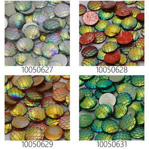 12mm Irridescent Acrylic Mermaid Scale Dragon Egg Cabochons 50pcs 10Colors
