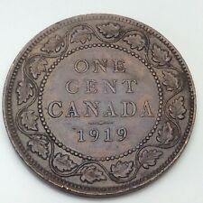 1919 Canada Copper 1 One Large Cent Penny Circulated Canadian Coin D350