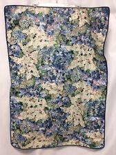 FLORAL pillow sham 1 QUEEN navy blue white pinks flowers navy piping WOW! #2