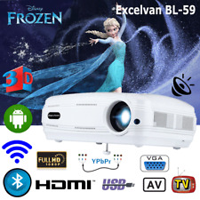 Android 6.0 HD 3D Projector Bluetooth Home Cinema 3200Lumen WIFI Beamer HDMI 8GB