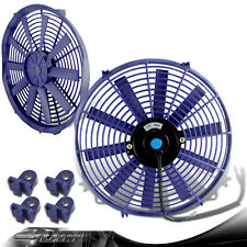 "Blue 14"" 1730 CFM Electric Pull/Push Cooling Slim Radiator Fan For Lexus Mazda"