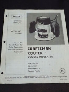 Vintage 1979 Sears Craftsman ROUTER Double Insulated OWNERS MANUAL 315.17480