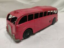 """Vintage streamline mechanical express bus by """"mettoy"""" diecast wind-up #820 red."""